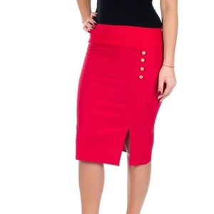 Slit Pencil Skirt w. Side Button Detail d4024, Red